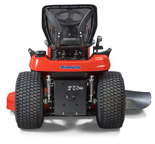 Simplicity lawn tractor back image to show suspension comfort system