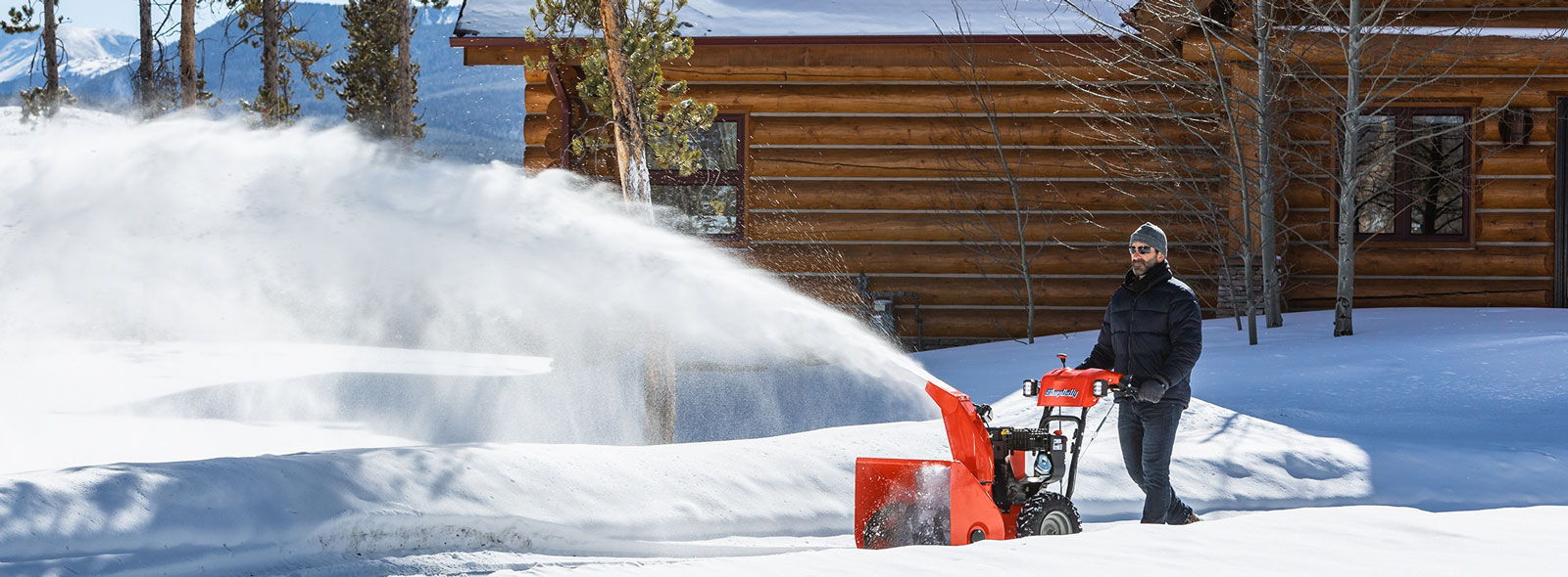 Man blowing snow with Simplicity snow blower