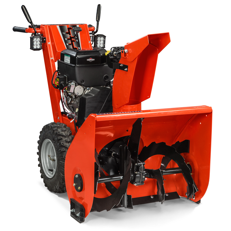Angle view of signature pro professional-duty two-stage snow blower