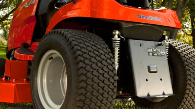Back of Simplicity tractor showing Suspension cutting system